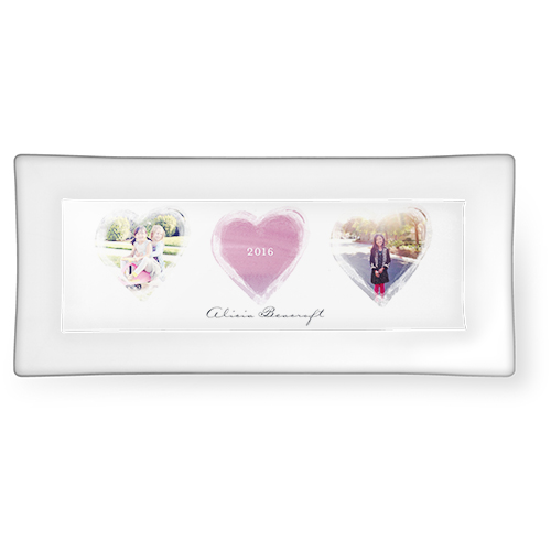 Brushed Heart Watercolor Catch All Tray, 3.75x7.5, Pink