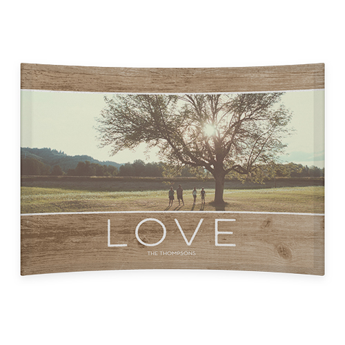Rustic Love Curved Glass Print, 7 x 10 inches, Curved, Brown