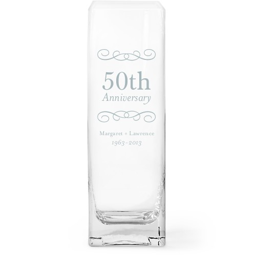 Happiest Anniversary Glass Vase, Glass Vase (Square), Glass Vase Double Sided, White