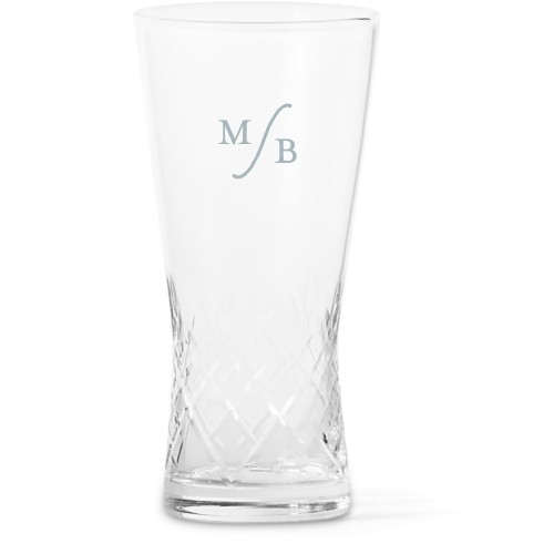 Elegant Monogram Glass Vase, Glass Vase (Trumpet), Glass Vase Double Sided, White