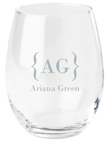 Bracket Monogram Name Wine Glass, White