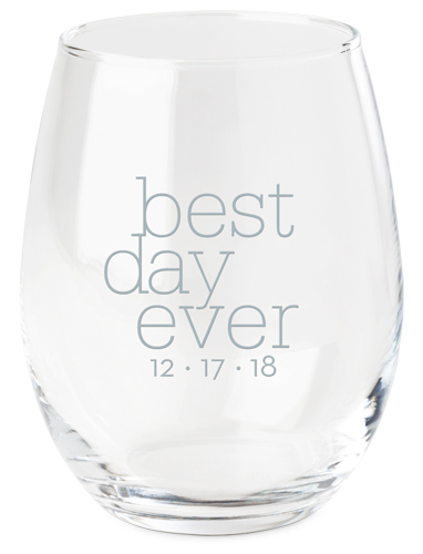Best Day Ever Wine Glass, White