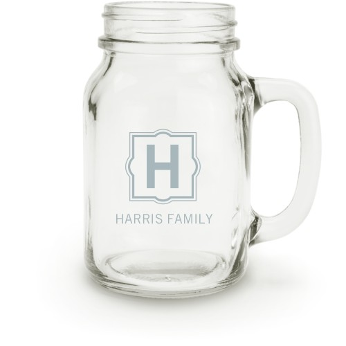 Stylized Monogram Name Mason Jar, White