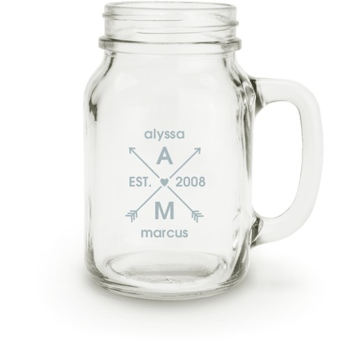 Arrows And Hearts Mason Jar, White