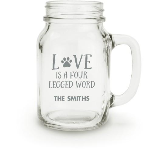 Four Legged Love Mason Jar, White