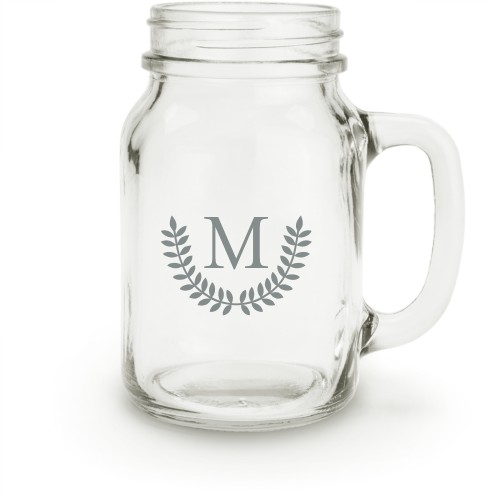 Leaf Monogram Mason Jar, White
