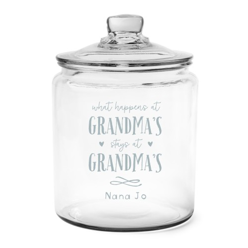 Grandma's House Glass Jar, Glass jar half gallon, Glass jar single side, White