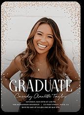 glimmering confetti graduation invitation 5x7 flat