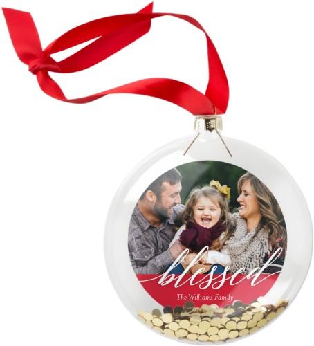 Blessed Script Glitter Ornament, DynamicColor, Circle