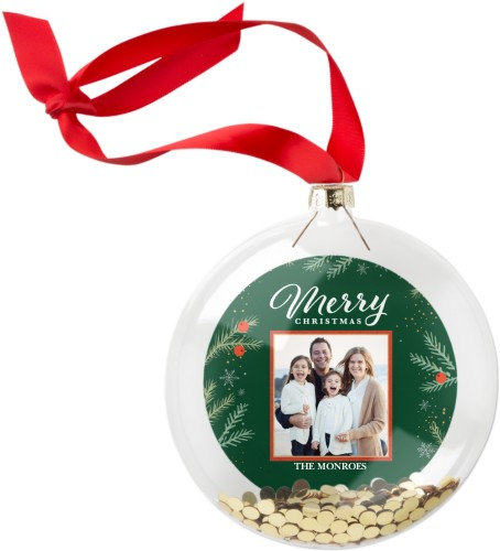 Merry Foliage Glitter Ornament, Green, Circle