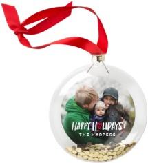 happy holidays heart glitter ornament