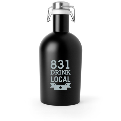 Drink Local Growler, Growler Single Side, Stainless Steel, Matte Black, White
