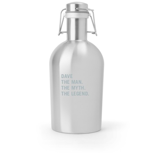 The Man Growler, Growler Single Side, Stainless Steel, Stainless Steel, White