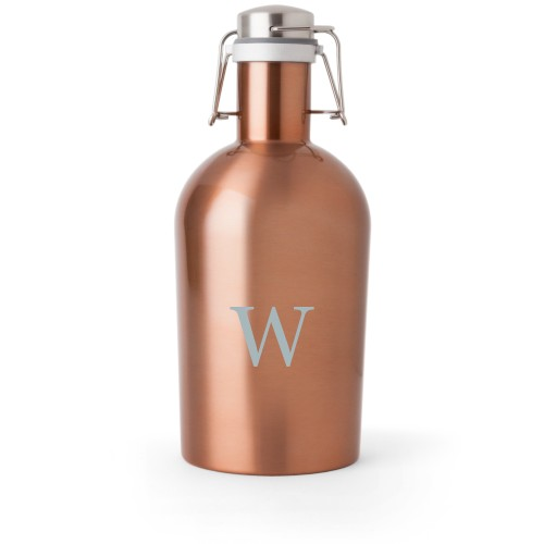Classic Monogram Growler, Growler Single Side, Stainless Steel, Copper, White