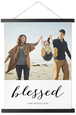 blessed script hanging canvas print