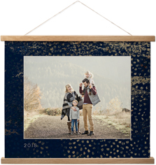 indigo gold hanging canvas print