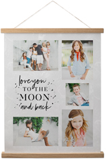 to the moon hanging canvas print