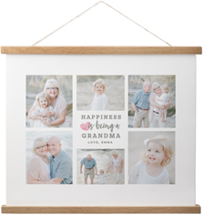 happiness heart collage hanging canvas print