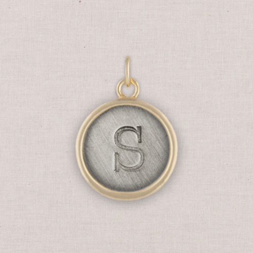 Gold Circle Initial Charm, White