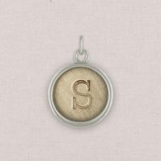 silver circle initial charm