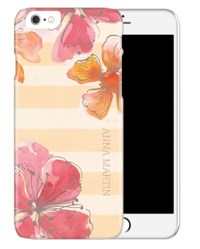 Floral Stripes iPhone Case, Slim case, Glossy, iPhone 6, Beige
