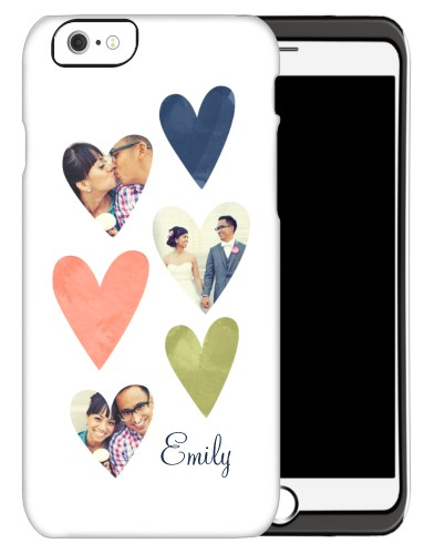 Heart Collage iPhone Case, Silicone liner case, Matte, iPhone 6, White