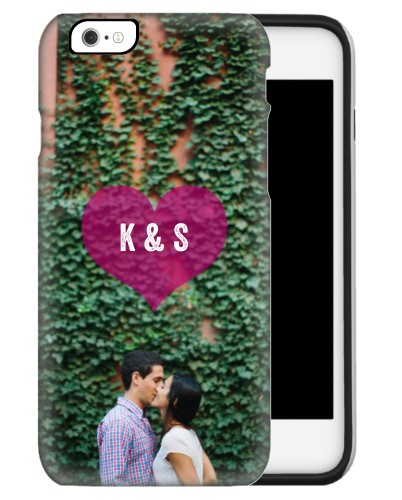 Purple Heart iPhone Case, Silicone liner case, Glossy, iPhone 6s, Purple