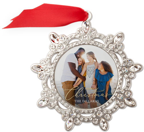 Classic Delicate Christmas Script Jeweled Ornament