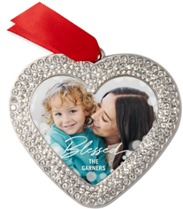 blessed scripted bokeh jeweled ornament
