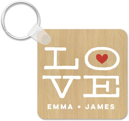 Lovely Craft Key Ring, Square, Beige
