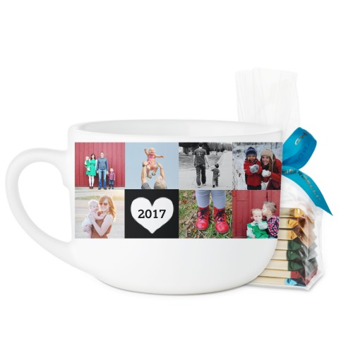 Love Grid Latte Mug, White, with Ghirardelli Assorted Squares, 25oz, Black