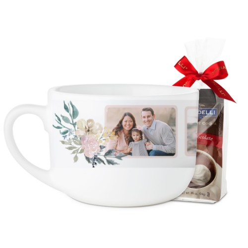 Mothers Floral Quote Latte Mug, White, with Ghirardelli Premium Hot Cocoa, 25oz, Beige