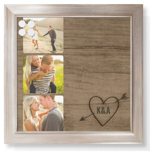 Initial Wood Heart Framed Magnetic Board, Metallic, Modern, 16 x 16 inches, Brown