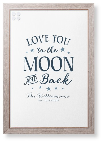 Moon and Back Script Framed Magnetic Board, Rustic, Modern, 20 x 30 inches, DynamicColor