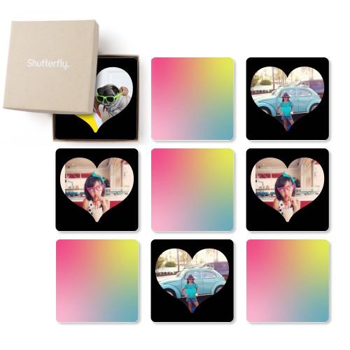 Heart Border Memory Game, Glossy, Black