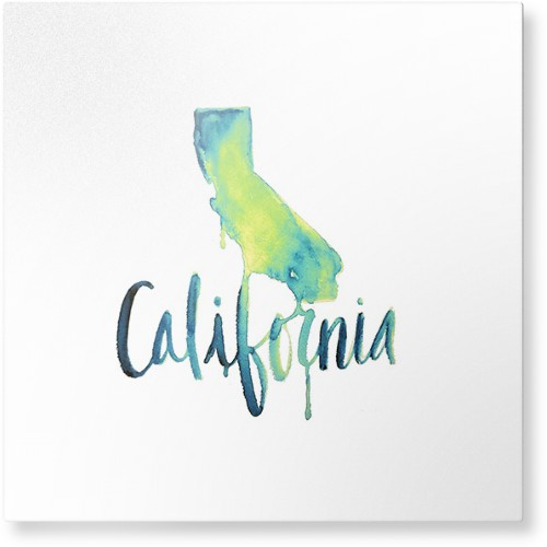 Watercolor California Metal Wall Art, Single piece, 16 x 16 inches, True Color / Glossy, Multicolor