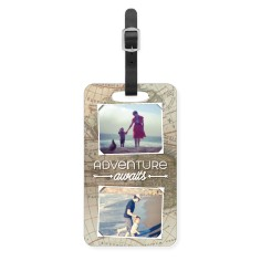 map of adventure luggage tag