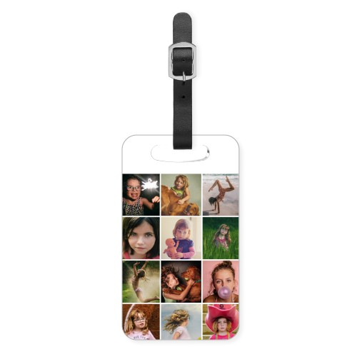 Collage Squares Luggage Tag, Small, White