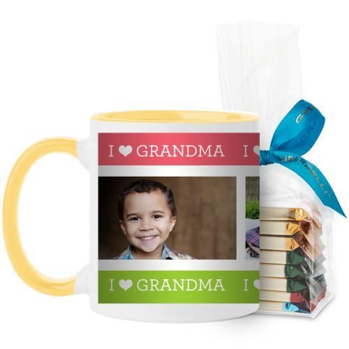 I Heart Grandma Mug, Yellow, with Ghirardelli Assorted Squares, 11 oz, Pink