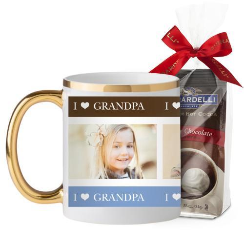 I Heart Grandpa Mug, Gold Handle, with Ghirardelli Premium Hot Cocoa, 11 oz, Brown