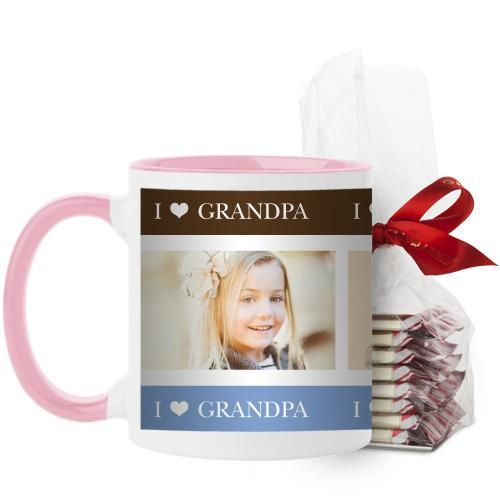 I Heart Grandpa Mug, Pink, with Ghirardelli Peppermint Bark, 11oz, Brown