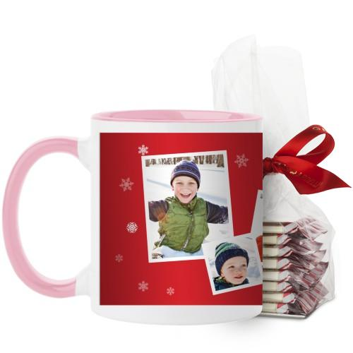 Snowflakes All Around Mug, Pink, with Ghirardelli Peppermint Bark, 11 oz, Red