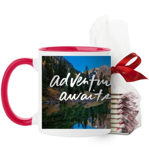 Adventure Awaits Mug, Red, with Ghirardelli Peppermint Bark, 11 oz, White