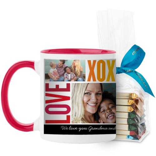 Family Love Hugs Mug, Red, with Ghirardelli Assorted Squares, 11 oz, Red