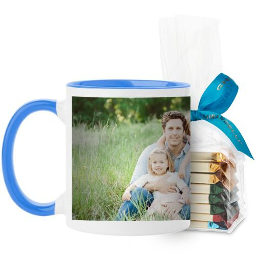 Photo Gallery Mug, Light Blue, with Ghirardelli Assorted Squares, 11oz, Multicolor