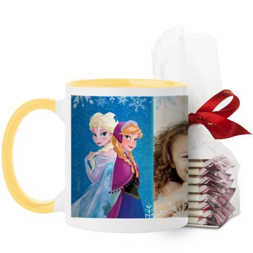 Disney Frozen Anna And Elsa Mug, Yellow, with Ghirardelli Peppermint Bark, 11 oz, Blue