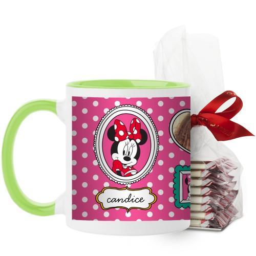 Disney Minnie And Friends Mug, Green, with Ghirardelli Peppermint Bark, 11 oz, Pink
