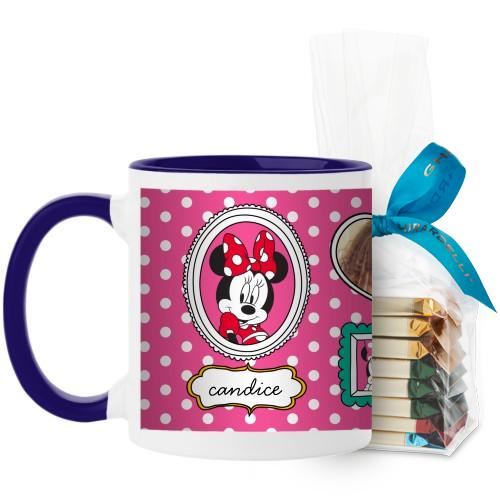 Disney Minnie And Friends Mug, Blue, with Ghirardelli Assorted Squares, 11 oz, Pink