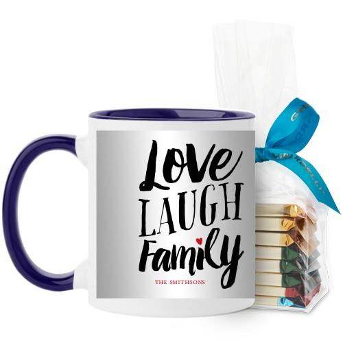 Love Laugh Family Mug, Blue, with Ghirardelli Assorted Squares, 11 oz, Grey