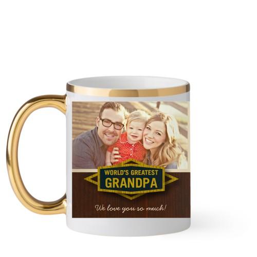Classic Grandpa Mug, Gold Handle,  , 11 oz, Brown